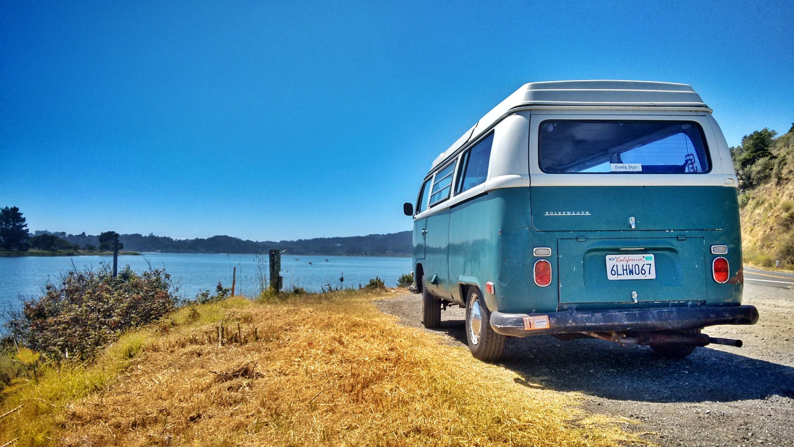 vw bus looking out onto the ocean